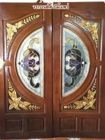 ประตูไม้สักกระจกนิรภัย แกะดอกไม้NNA22