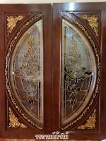 ประตูไม้สักกระจกนิรภัยเต็มบาน แกะดอกไม้ รหัสNNA13