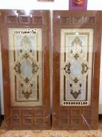 NNA20 ประตูไม้สักกระจกนิรภัย แกะดอกไม้