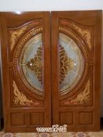 ประตูไม้สักกระจกนิรภัยNNA04