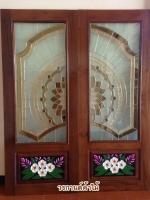 ประตูไม้สักกระจกนิรภัยNNA02