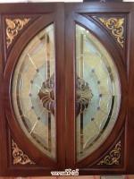 ประตูไม้สักกระจกนิรภัยNNA29