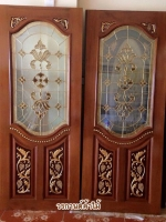 ประตูไม้สักกระจกนิรภัย แกะองุ่นNNA23