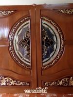 ประตูไม้สักกระจกนิรภัย แกะดอกไม้ลายไทยNNA24
