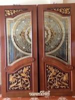 ประตูไม้สักกระจกนิรภัย ปีกนก เกรดA รหัสNNA15