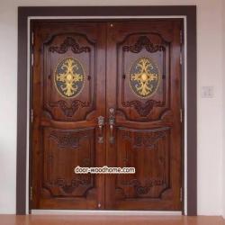 ประตูไม้สักบานคู่แกะหลุย รหัสAAA41