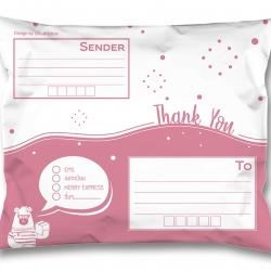 แพค50ใบ_ซองไปรษณีย์พลาสติกจ่าหน้าสีชมพู ขนาด 25*35cm (ขนาดA4)