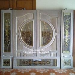 ประตูไม้สักกระจกนิรภัยเกรดA ชุด7ชิ้น รหัสNOT13