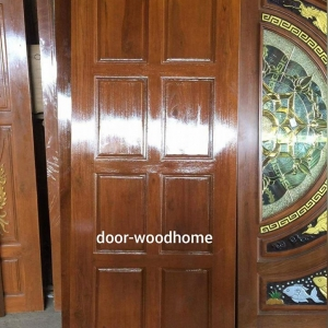 ประตูไม้สักบานเดี่ยว แปดฟัก รหัส AA218