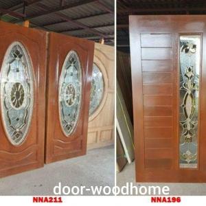 ประตูไม้สักกระจกนิรภัย วงรี ,โมเดิร์น เกรดA