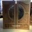 ประตูไม้สักกระจกนิรภัย แกะฟักทอง เกรดA รหัส AA30