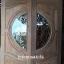 ประตูไม้สักกระจกนิรภัย แกะองุ่น เกรดA รหัส AA13