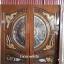 ประตูไม้สักกระจกนิรภัย แกะมังกร หงส์ ปลาเงินปลาทอง รหัส A54