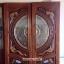ประตูไม้สักกระจกนิรภัย แกะมังกร,หงส์,ปลา รหัส A157