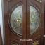 ประตูไม้สักกระจกนิรภัย แกะดอกไม้ เกรดA,B+ รหัส A102 thumbnail 1