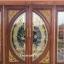 ประตูไม้สักกระจกนิรภัยแตงโมเต็มบาน ชุด4ชิ้น เกรดA รหัส AAA75