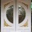 ประตูไม้สักกระจกนิรภัย แกะมังกรหงส์ สีขาวด้าน รหัส A100 thumbnail 2