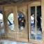 ประตูไม้สักกระจกนิรภัยบานเลื่อนชุด4ชิ้นเกรดA รหัสNOT18