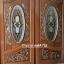 ประตูไม้สักกระจกนิรภัยวงรี แกะองุ่น เกรดA รหัส A133