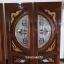 ประตูไม้สักกระจกนิรภัย แกะมังกรหงส์ปลาเงิน-ทอง เกรดA รหัส A77 thumbnail 1