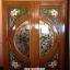 ประตูไม้สักกระจกนิรภัย แกะดอกไม้ เกรดA รหัส A33 thumbnail 1