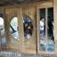 ประตูไม้สักกระจกนิรภัย แกะหงส์มังกรปลา บานเลื่อน ชุด4ชิ้น รหัส NOT18