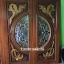 ประตูไม้สักกระจกนิรภัย แกะมังกรหงส์ เกรดA รหัส A111 thumbnail 1