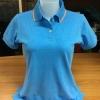 เสื้อโปโลหญิง สีฟ้าขอบส้ม ไซส์/S/รอบอก34นิ้ว