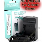 Home + Car Battery Charger For Canon NB-1L/NB-1LH