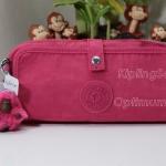Kipling Wolfe Roll up Vibrant Pink ใส่เครื่องเขียนหรือ เครื่องสำอาง แปรงแต่งหน้า ขนาด 7.75 x 3.5 x 2 นิ้ว