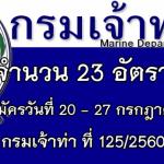 กรมเจ้าท่า ที่ 125/2560 รับสมัครเป็นพนักงานราชการ 23 อัตรา