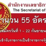 สำนักงานเลขาธิการวุฒิสภา เปิดสอบรับราชการเป็นข้าราชการรัฐสภาสามัญ 55 อัตรา