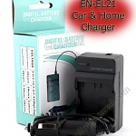 Home + CarBattery Charger For Nikon EN-EL21
