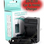 Home + CarBattery Charger For Nikon EN-EL19