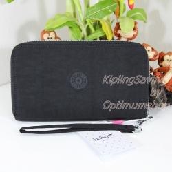 Kipling Olvie Black เป็นกระเป๋าสตางค์ใบยาวแบบซิปรอบ มาพร้อมสายคล้องมือ ขนาด 9 Width x 11.5 Height x 2 Depth cm large