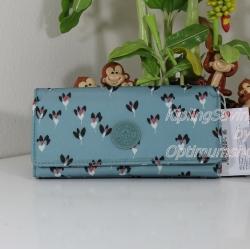Kipling New Teddi Fan Florals หรือชื่อเดิม Brownie กระเป๋าสตางค์ใบยาว ขนาด 7.5x3.75x1xนิ้ว