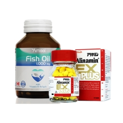 Alinamin Ex plus + Amsel Fish Oil [SET SMART BRAIN]จับคู่เพื่อคนทำงานหนัก บำรุงสมอง บำรุงความจำ เพื่อประสิทธิภาพในการทำงาน และยังช่วยลดการเมื่อยล้าจากการทำงานหนัก