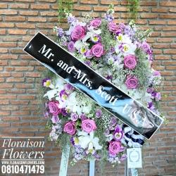 บุปผาอาลัย Floraison โทนสี ม่วง ขาว เรียบหรู (พวงหรีดดอกไม้สด)