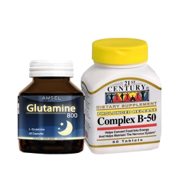 21st Century, B-50 Complex, 60 Tablets+Amsel Glutamine 800 เซ็ตคู่ช่วยการนอนหลับ
