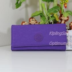 Kipling New Teddi Purple Feather หรือชื่อเดิม Brownie กระเป๋าสตางค์ใบยาว ขนาด 7.5x3.75x1xนิ้ว