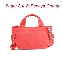 Kipling Sugar S II Papaya Orange กระเป๋าหิ้วกุ๊กกิ๊ก หรือสะพายน่ารัก ในรุ่นที่ 2 ขนาด L 11.5 x H 6.25 X D 6 นิ้ว
