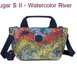 Kipling Sugar S II Watercolor River กระเป๋าหิ้วกุ๊กกิ๊ก หรือสะพายน่ารัก ในรุ่นที่ 2 ขนาด L 11.5 x H 6.25 X D 6 นิ้ว