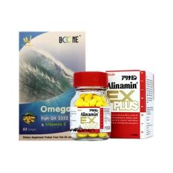 Alinamin Ex plus + Boone Omega-3,Fish Oil 3322TG [SET CONCENTRATE BRAIN] จับคู่ผสมผสานอย่างลงตัว เพิ่มสมรรถภาพการทำงานของระบบประสาทและสมอง รักษาระดับไขมันในหลอดเลือดและหัวใจให้เป็นปกติ