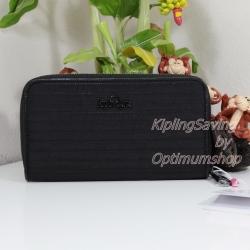 Kipling Nimmi Mat Black เป็นกระเป๋าสตางค์ใบยาวแบบซิปรอบ ขนาด 18.5 W x 10 H x 2 D cm