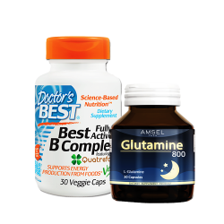 Doctor's Best, Best Fully Active B Complex, 30 Veggie Caps + + Amsel Glutamine 800