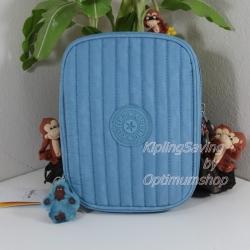 Kipling Nolan Blue Grey กระเป๋าใส่เครื่องเขียน แปรงแต่งหน้า หรืออุปกรณ์มือถือ ขนาด L 7.75 x H 5.75 x D 1.5 นิ้ว