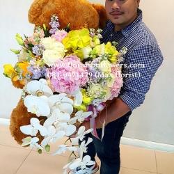 ตุ๊กตาหมีกอดตะกร้าดอกไม้PREMIUM)