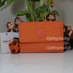 Kipling Pixi Orange Fresh กระเป๋าสตางค์ใบกลางแบบพับ มีพวงกุญแจ ขนาด 5.75 x 4.25 x 1.25 นิ้ว