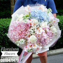 ช่อดอกไม้ หวานๆ กุหลาบ ไฮเดรนเยีย (L)