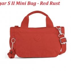 Kipling Sugar S II Red Rust กระเป๋าหิ้วกุ๊กกิ๊ก หรือสะพายน่ารัก ในรุ่นที่ 2 ขนาด L 11.5 x H 6.25 X D 6 นิ้ว
